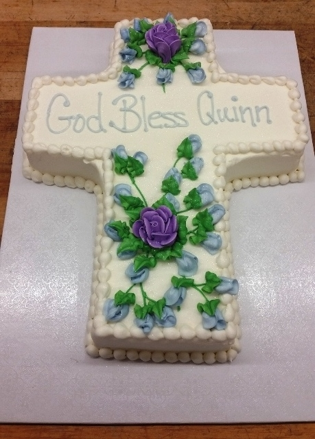 Cross Shaped Cake with Purple Flowers