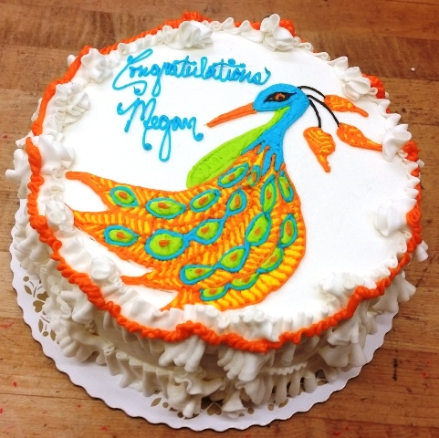 Round Cake with Piped Peacock