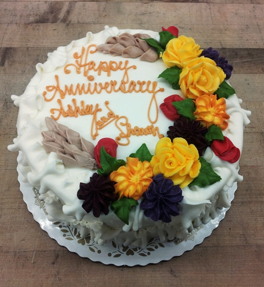 Round Cake with Fall Flowers and Pinecones
