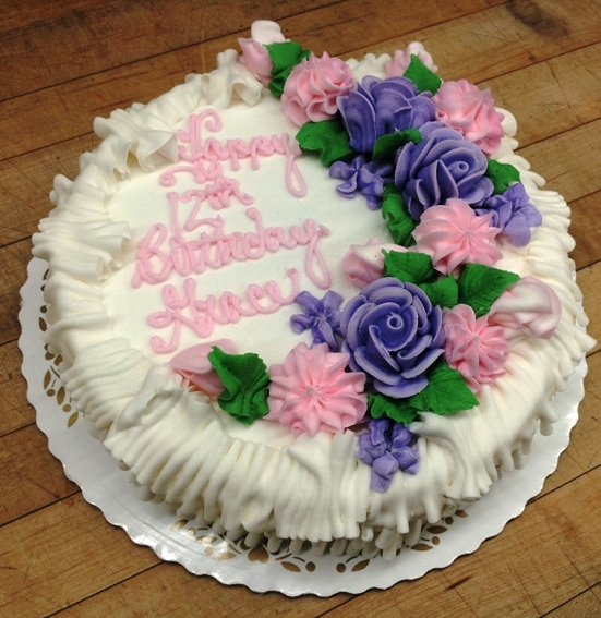 Round Cake with Pink and Purple Flowers