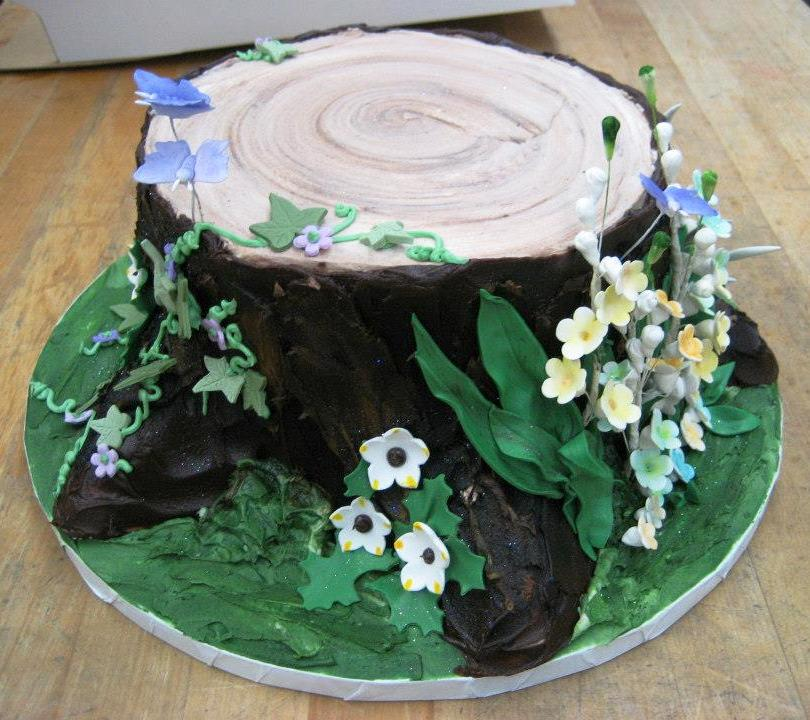 Tree Stump Shaped Round Cake