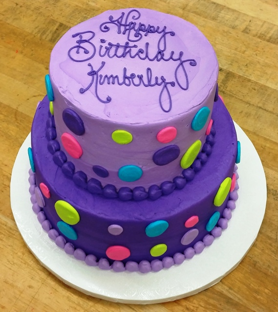 Purple Party Cake with Neon Polka Dots