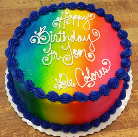 Rainbow Airbrushed Round Cake with Shell Border