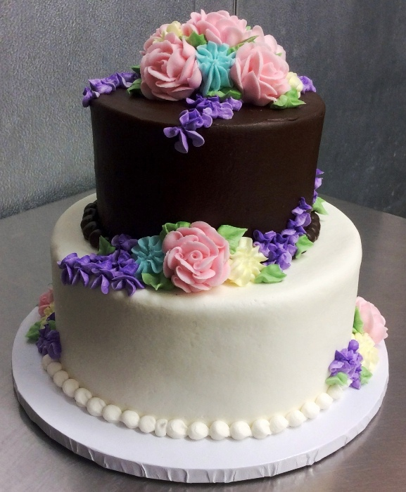 White and Chocolate Party Cake with Flowers