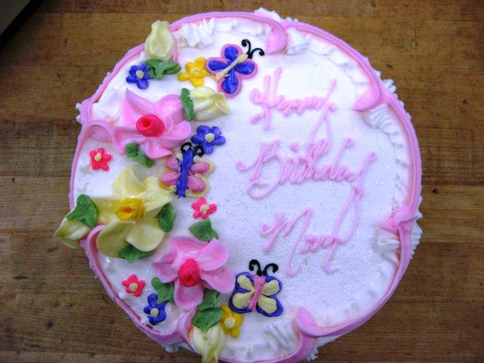Round Cake with Spring Flowers and Butterflies