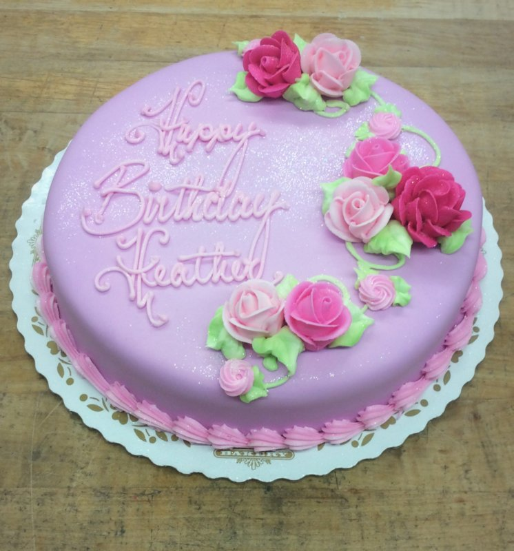 Round Birthday Cake with Pink Roses