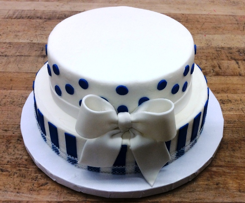 White and Navy Tiered Cake with Bow