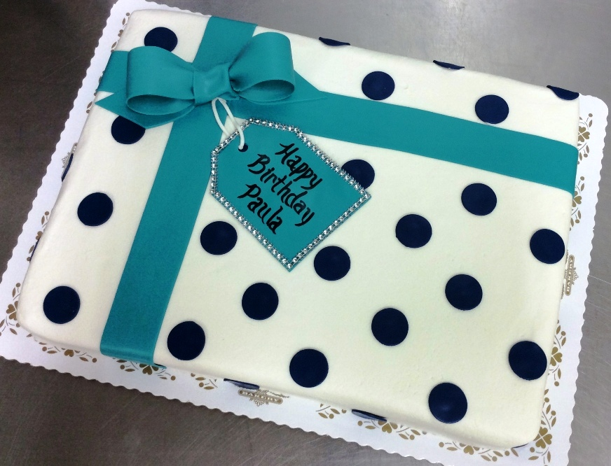 Sheet Cake Present with Bow and Tag
