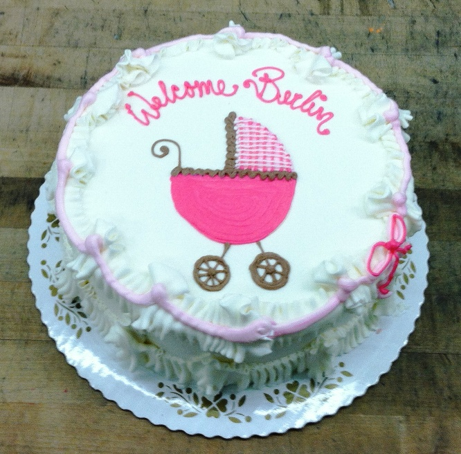 Pink Baby Buggy Round Cake