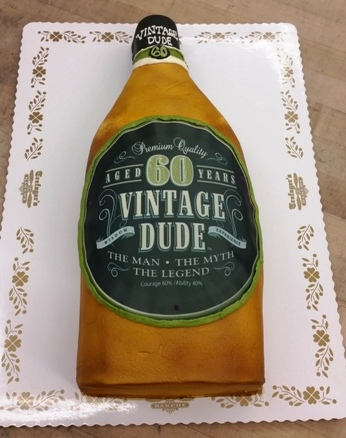 Vintage Dude Whiskey Bottle Shaped Cake
