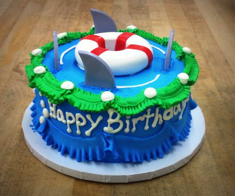 Round Cake with Shark Fins and Life Preserver