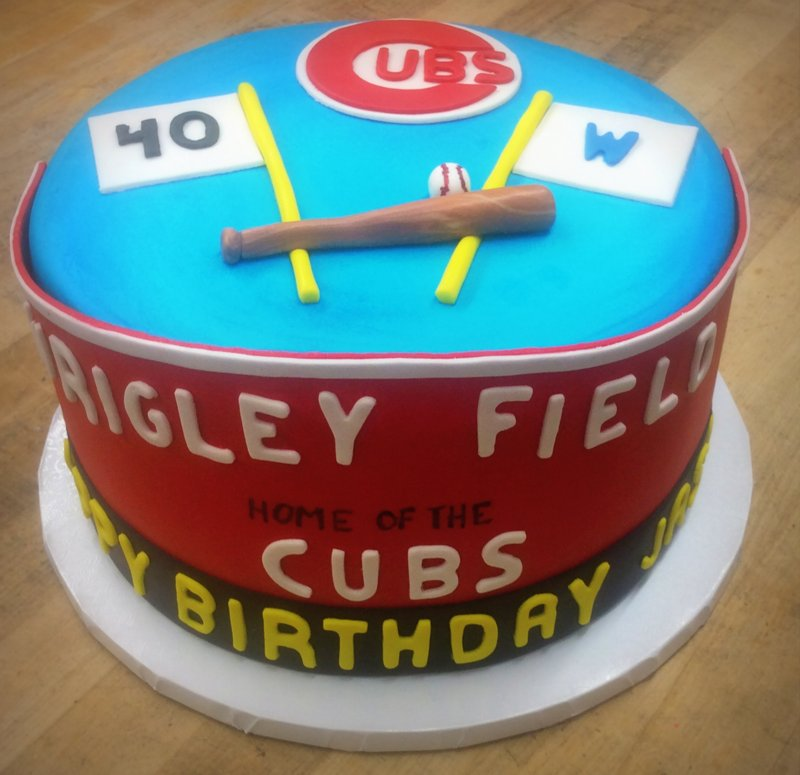 Round Cake with Wrigley Sign