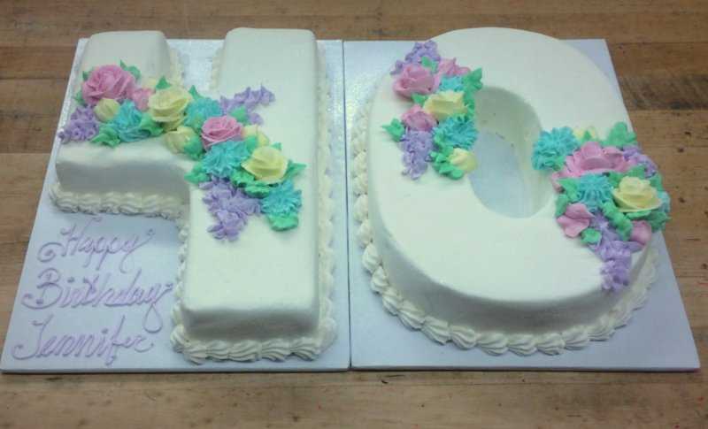 Number Shaped Cake with Pastel Flowers Trefzgers Bakery