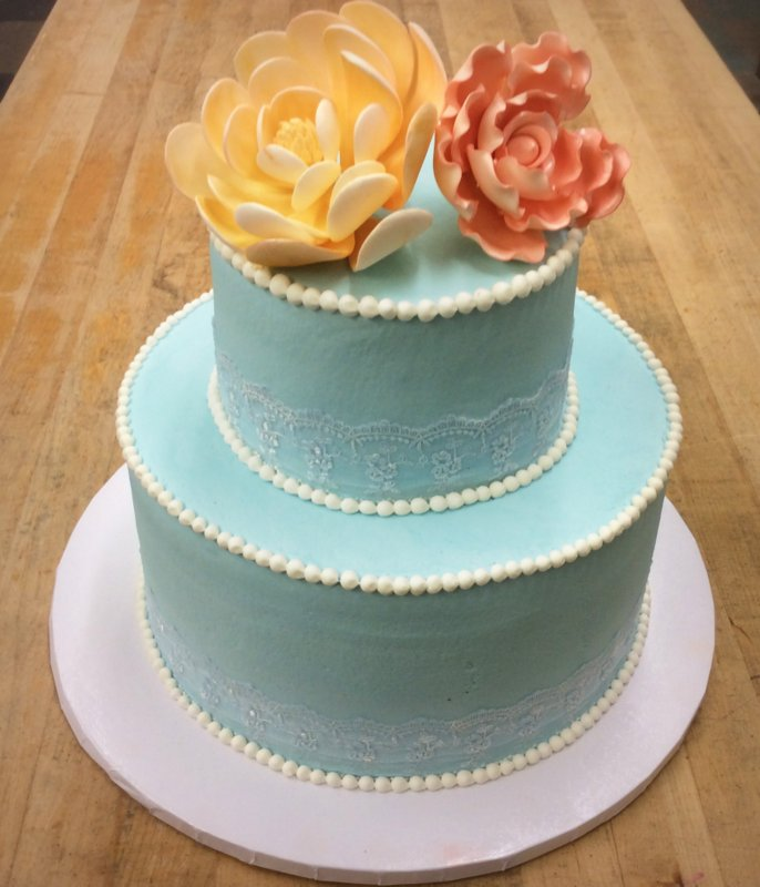 Party Cake with Lace Ribbon and Gumpaste Flowers