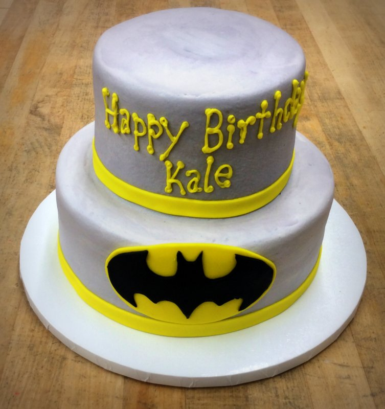 Grey and Yellow Batman Party Cake