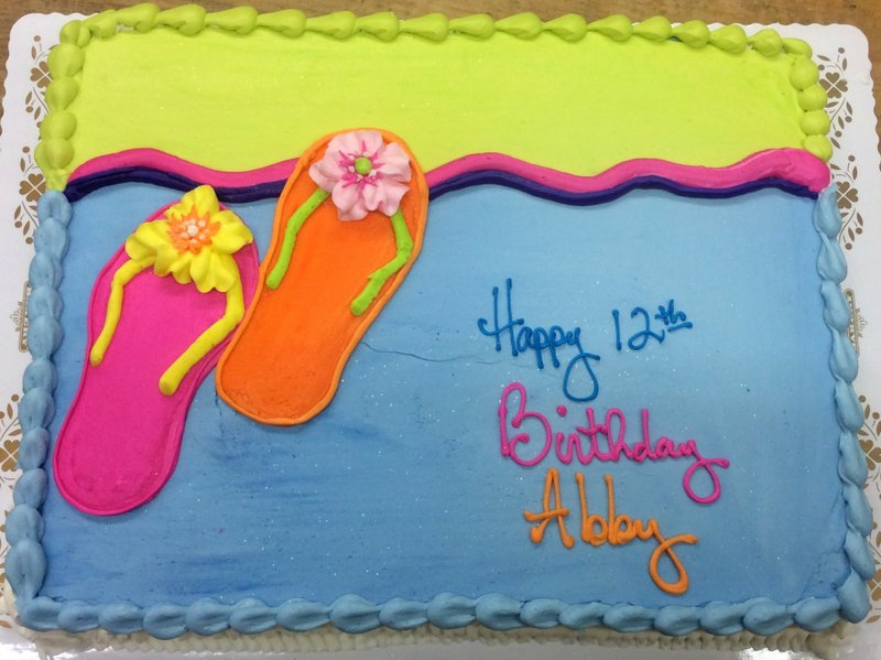 Sheet Cake with Piped Flip Flops