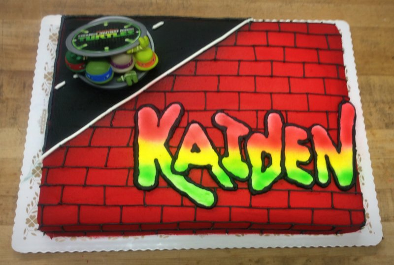 TMNT Sheet Cake with Bricks
