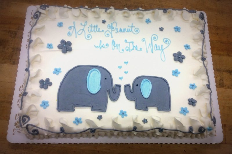 Blue and Gray Elephants Sheet Cake