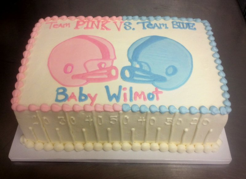 Football Themed Gender Reveal Cake — Trefzger's Bakery