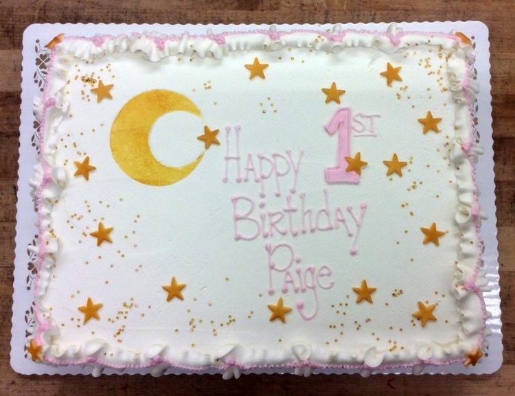 Moon And Stars First Birthday Sheet Cake Trefzgers Bakery