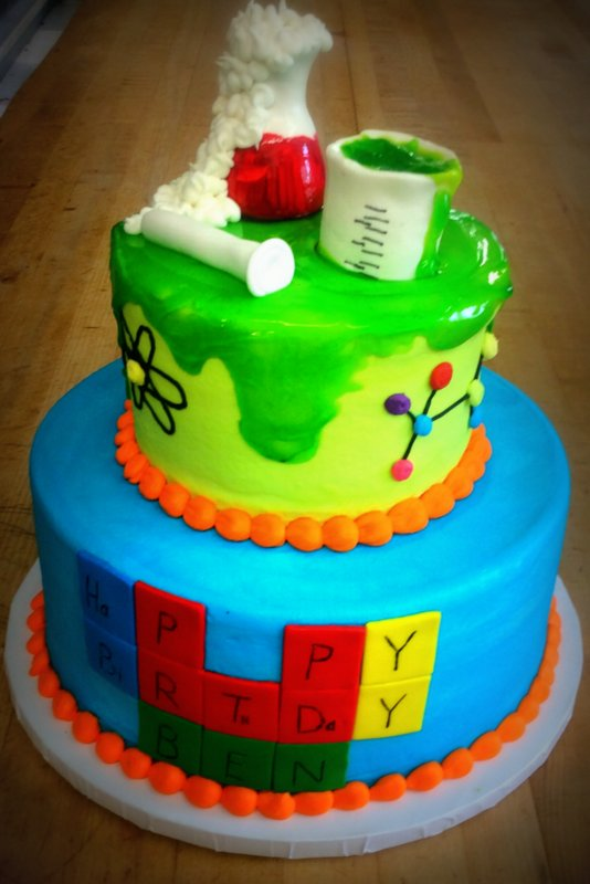 Science Themed Birthday Party Cake