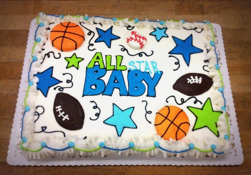 All Star Baby Shower Sheet Cake  Trefzgers Bakery - All star birthday cake
