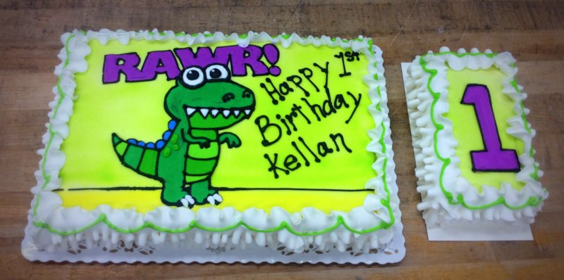 Piped Dinosaur Sheet Cake with Smash Cake