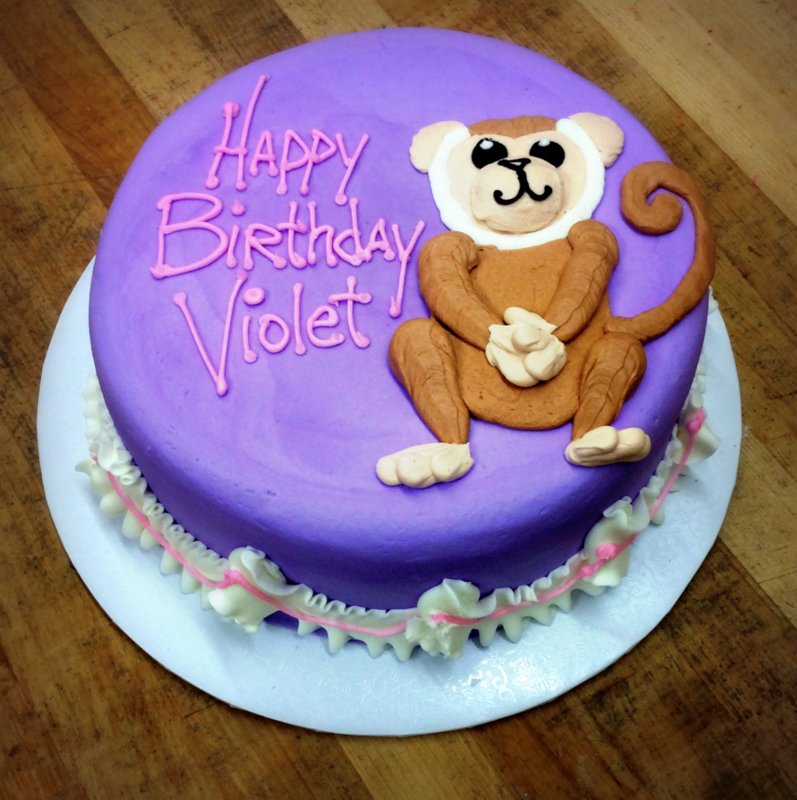 Round Cake with Piped Monkey
