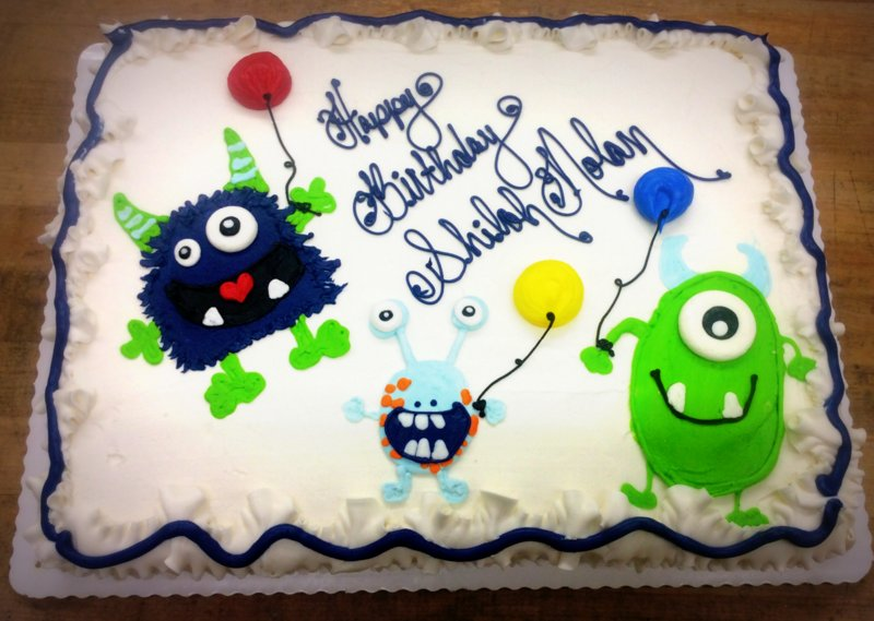 Sheet Cake with Piped Monsters