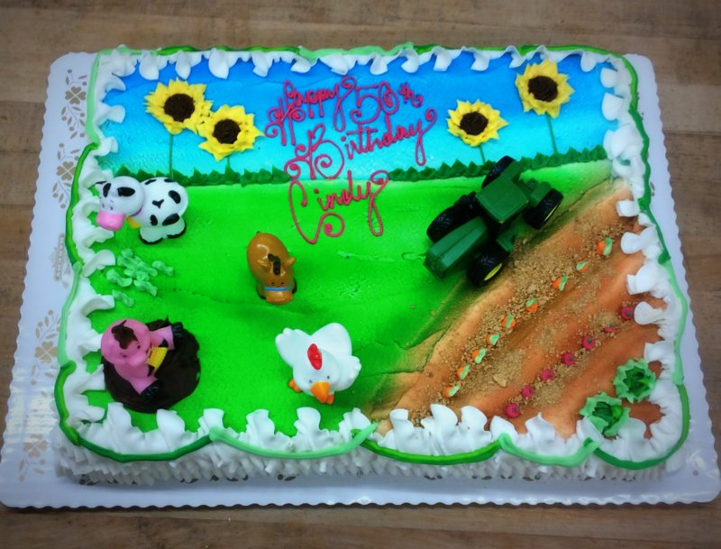 Sheet Cake with Farm and Animals