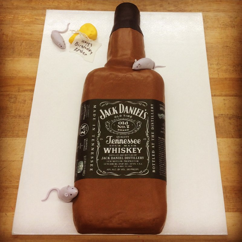 Whiskey Bottle Shaped Cake