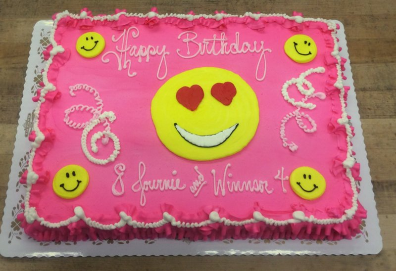 Sheet Cake with Piped Smilies