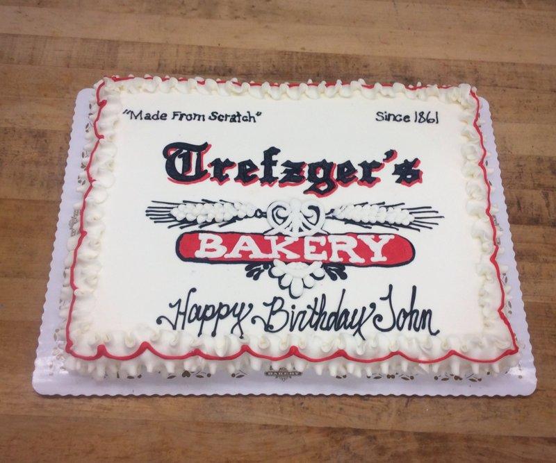 Trefzger's Bakery Logo Cake