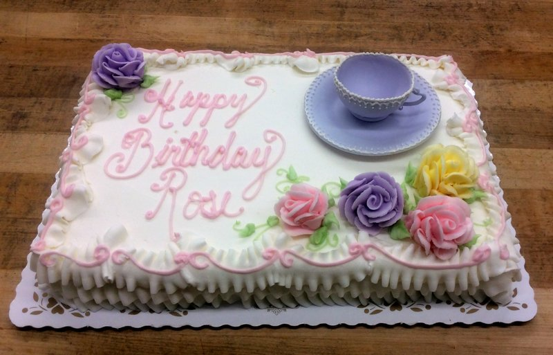 Sheet Cake with Tea Cup and Saucer