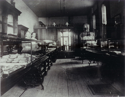 Interior of the Original Trefzger's Bakery location on Main St. in Downtown Peoria, IL during the 1890's