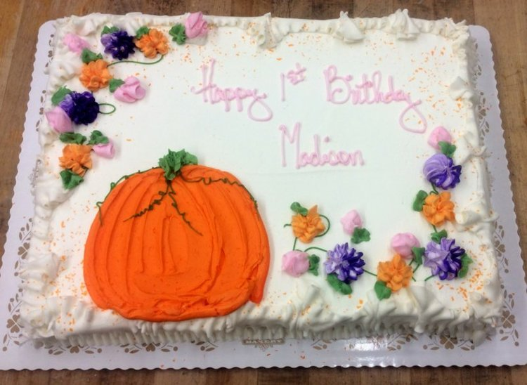 Fall Themed Sheet Cake With Piped Pumpkin Trefzgers Bakery