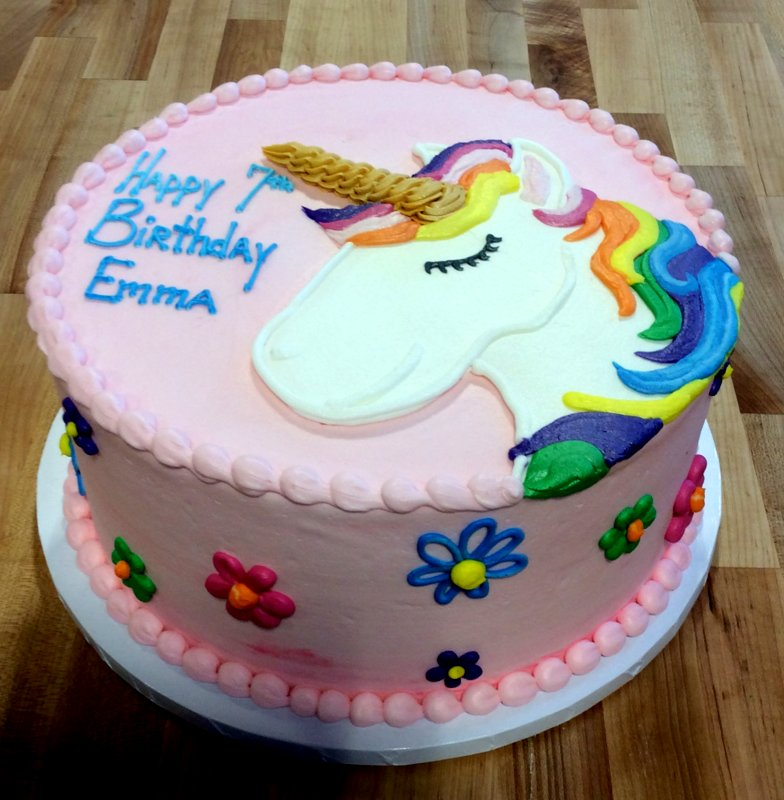 Magical Unicorn Round Pink Cake with Daisies