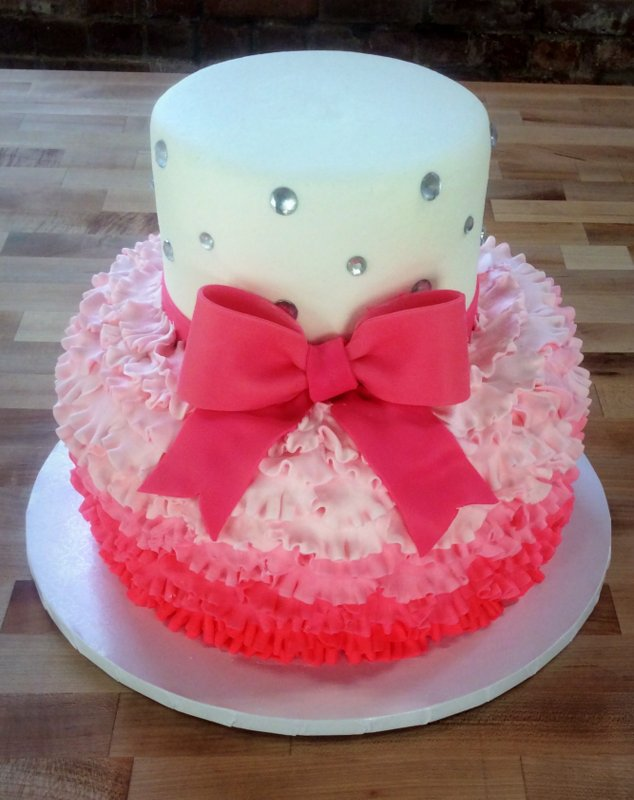 Pink Party Cake with Ruffles, Bling, and Fondant Bow