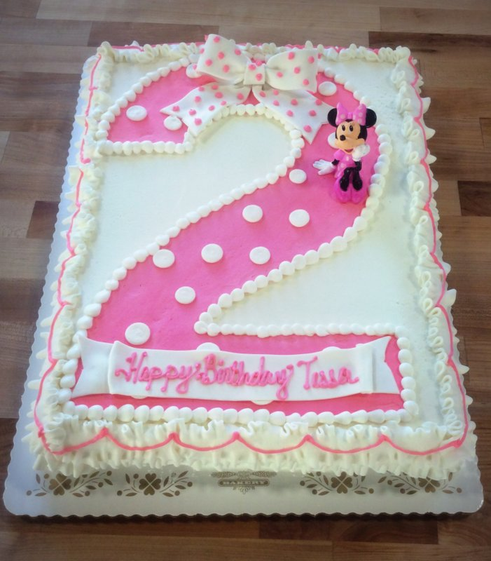 Minnie Mouse Sheet Cake with Pink Polka Dot Number 2 ...