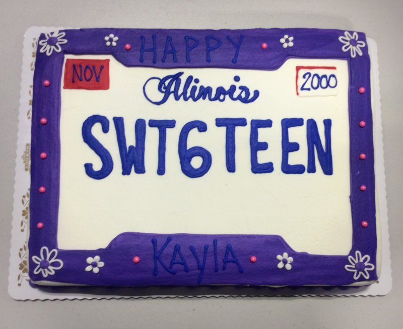 Sweet Sixteen License Plate Sheet Cake