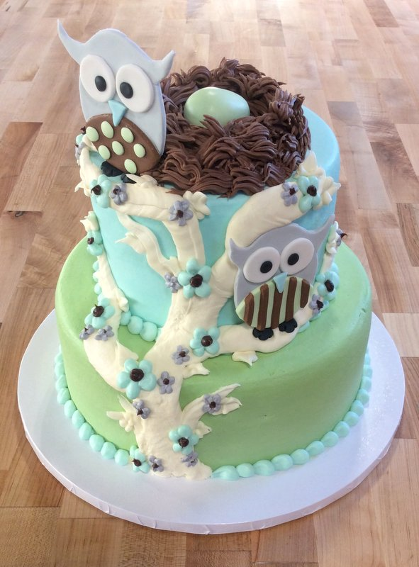 Party Cake with Fondant Owls