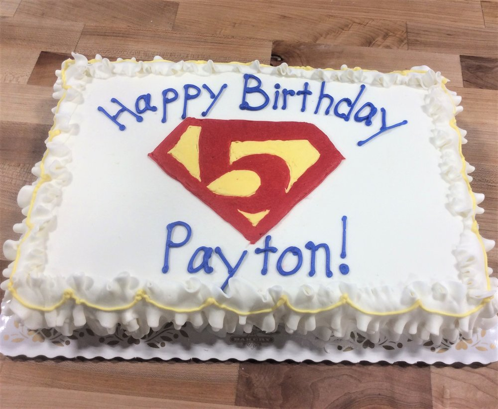 Sheet Cake with Superman Number Logo