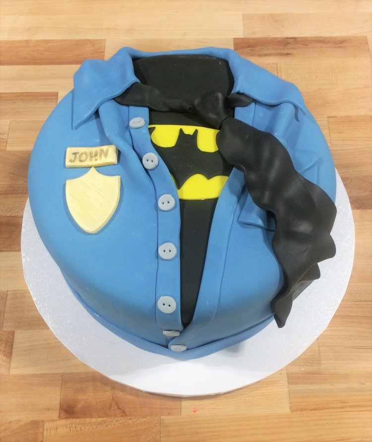Police and Batman Themed Round Cake Trefzgers Bakery