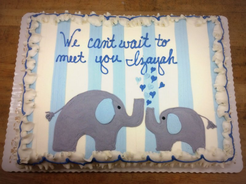 Sheet Cake with Blue and Gray Elephants