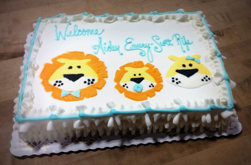 Baby Shower Sheet Cake with Piped Lion Family