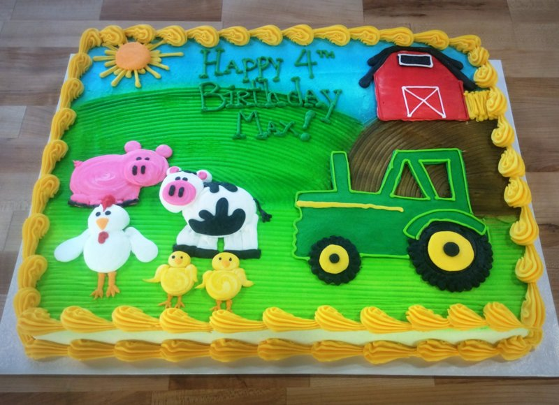 Barnyard Sheet Cake with Piped Animals, Barn, and Tractor