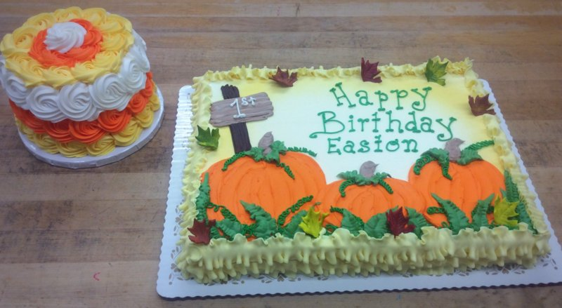 Pumpkin Patch Sheet Cake with Candy Corn Smash Cake