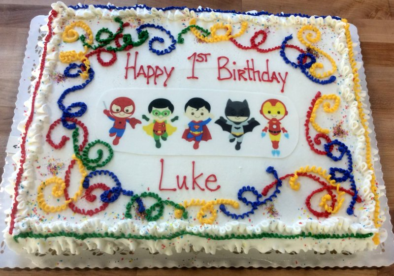 Sheet Cake with Little Superheroes Photoscan