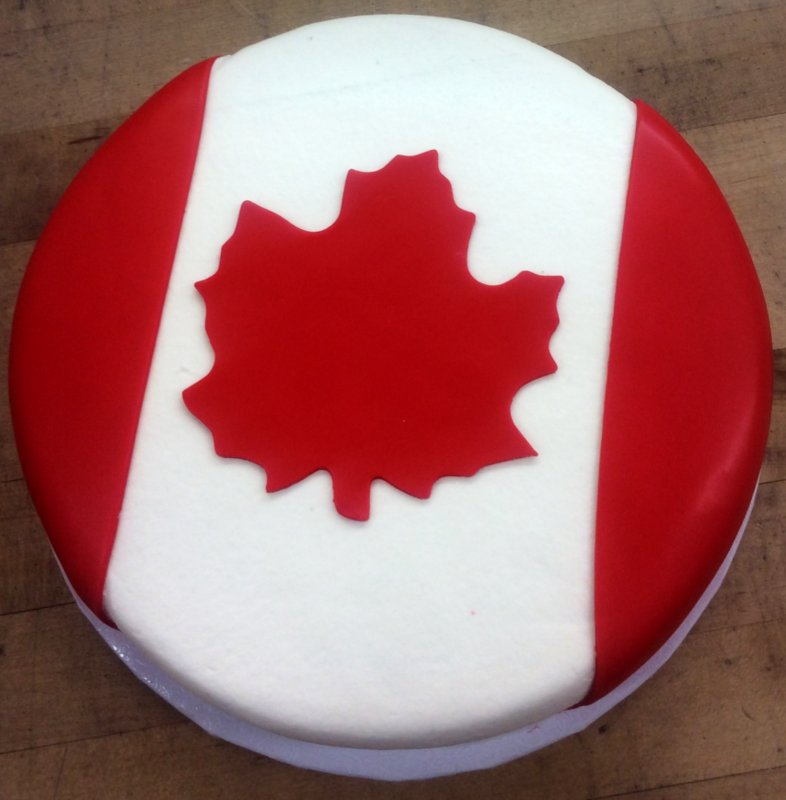 Canadian Flag Round Cake