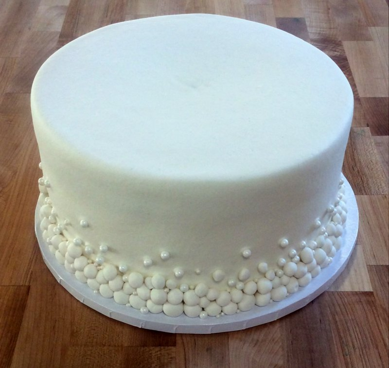 White Cake with Pearl Sides